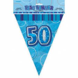 Flag Banner Blue Glitz 50th Birthday / Anniversary