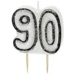Glitz Black Numeral 90 Candle