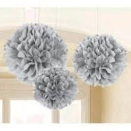 Puff Ball Paper Decoration 16 inch Silver