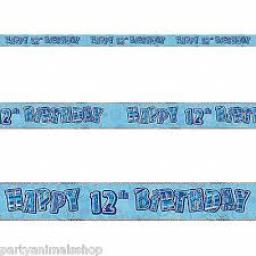Blue Prizmatic H 12th Birthday Banner 3.6m