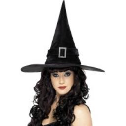 Witch Hat with Diamonte Buckle Black