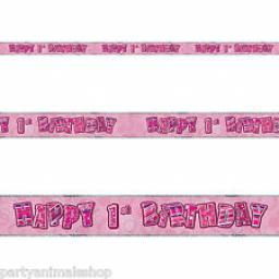 Pink Glitz Happy 1 st Birthday Banner 3.6M