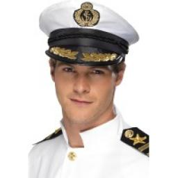 Captain Cap, White, with Golden Detail