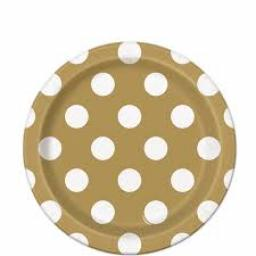 Round Plates 7inch 8ct Gold Dots