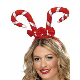 Candy Cane Headband with Bows Red and White