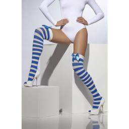 f9b69d9cb Opaque Hold Ups Blue   White Striped With Bows
