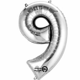 "Number 9 Silver SuperShape Foil Balloons 23""/58cm w x 35""/88cm"