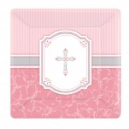 Blessings Pink Square Plate 26cm x 8pcs
