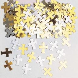 Crosses Gold & Silver Metaliic Confetti 14g