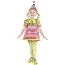Clown Cuttie Girls Costume Top Pants Hat Age 3-4