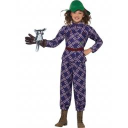 David Walliams Deluxe Awful Auntie Costume, Purple, with Top, Trousers, Hat, Glove & Owl Accessory