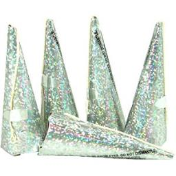 10 Silver Holographic Cone Party Poppers 8cm each