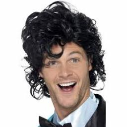 80s Prom King Perm Wig Black