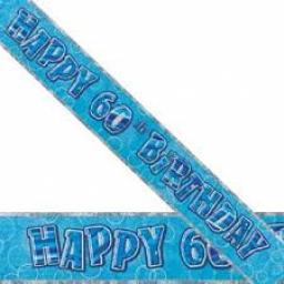 Blue Prizmatic H 60th Birthday Banner 3.6M