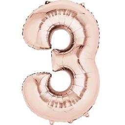 "Rose Gold Number 3 SuperShape Foil Balloons 21""/53cm w x 35""/88cm"
