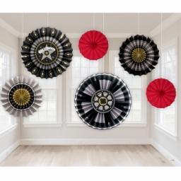 Hollywood Paper Fan Decorations 6pcs