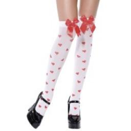 STOCKINGS WITH RED BOW AND HEARTS