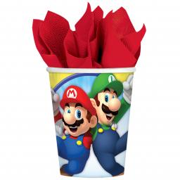 Super Mario Paper Cups 266ml Hot/Cold 8pcs