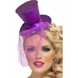 Fever Glitter Mini Top Hat On Headband Purple