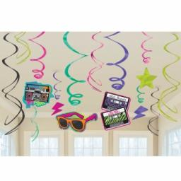 Totally 80s Hanging Swirls Decorations 12pcs