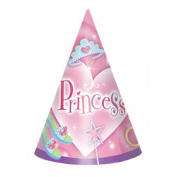 Princess Paper Cone Hats - 15.2cm 8pcs