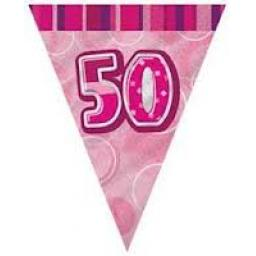 Flag Banner Pink Glitz 50th Birthday / Anniversary