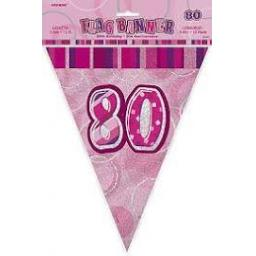 80th Birthday Flag Banner Pink Prismatic 3.6m