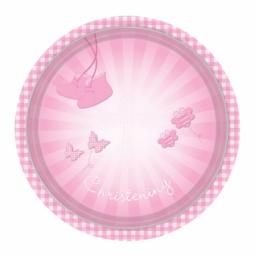 Christening Pink Booties Paper Plates 23cm
