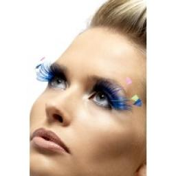 Eyelashes Blue With Neon Feather Plumes