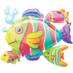 SuperShape Tropical Fish Cluster Foil Ball 30x24in
