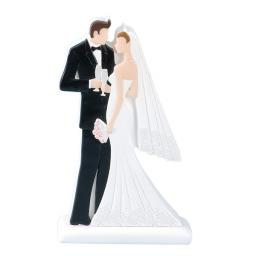 2D Bride & Groom Standing 100 x 40 x 180mm White