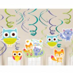 Woodland Welcome Baby Shower Swirl Decorations