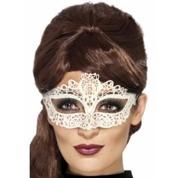 Embroidered White Lace Filigree Eyemask White
