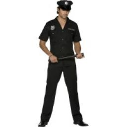 Fever Cop Costume Black Top Trousers and Hat
