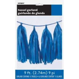 9ft Tissue Paper Royal Blue Tassel Garland