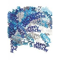 Happy Birthday Confetti-Blue And Silver