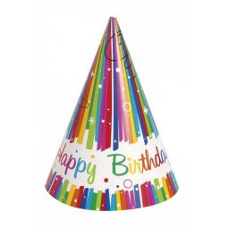 Rainbow Ribbons Birthday Party Cone Hats, Multicolor 8ct