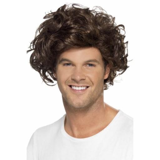 Boyband Heartthrob Wig Curly Brown