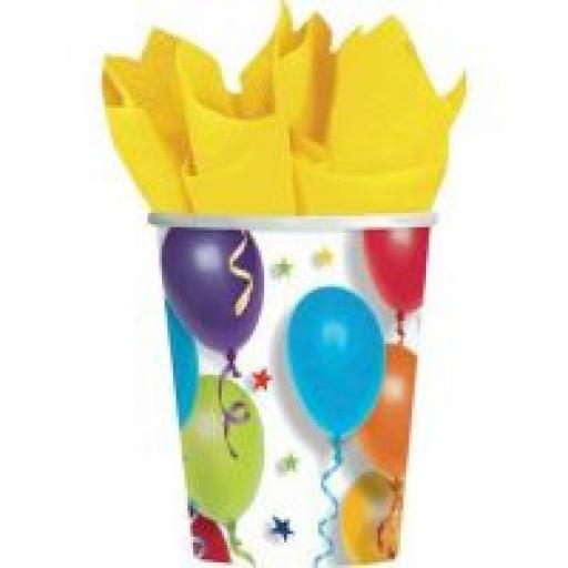 Balloon & Stars Party Paper Cups 8pcs 9oz