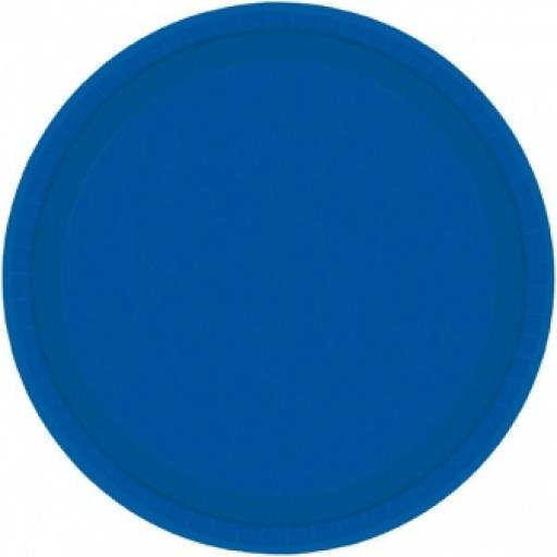8 Bright Royal Blue Paper Plates 7""