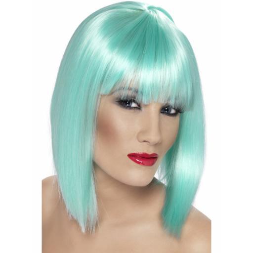 Glam Wig Neon Aqua Short Blunt with Fringe