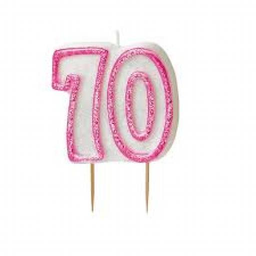Glitz Pink 70 Numeral Candle