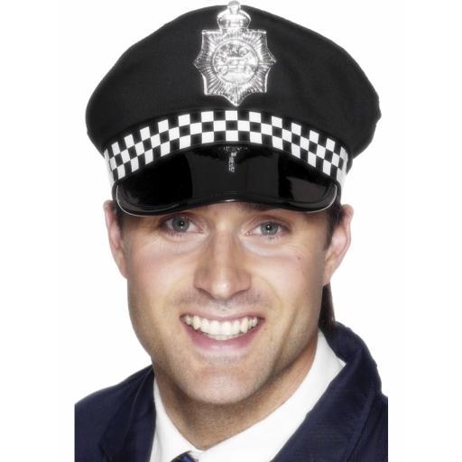Police Panda Cap, Black, with Check Band