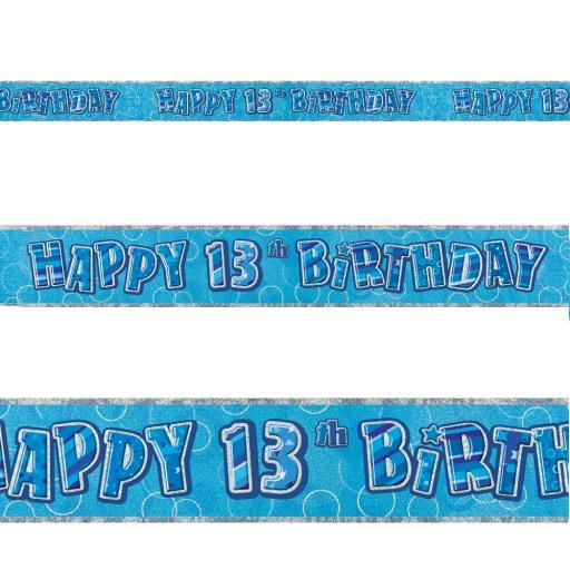 Blue Prizmatic H 13th Birthday Banner 3.6M