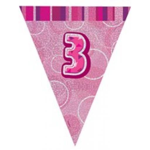 Pink Glitz Flag Banner 3rd Birthday 9Ft Long