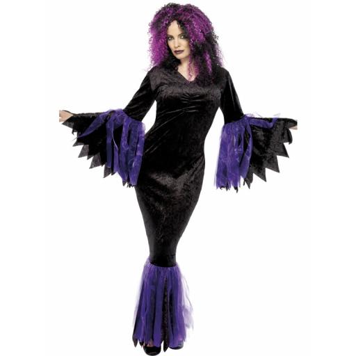 Venomous Vamp Costume Black & Purple LRG