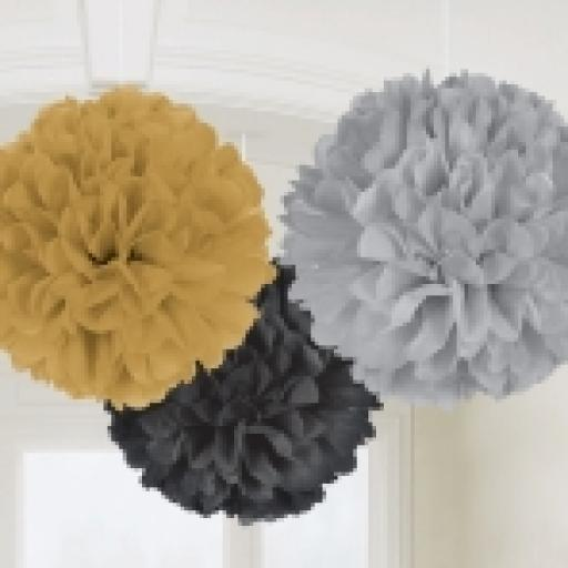Fluffy Puff Ball Decorations 3pcs 16in