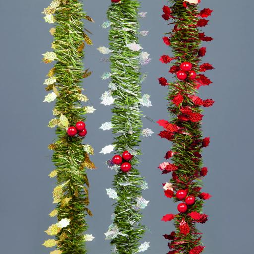 2.7M Tinsel Garland w Holly Leaf-Berries