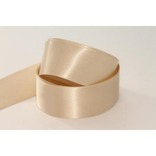 15mm Woven Edge Satin Ribbon Oyster