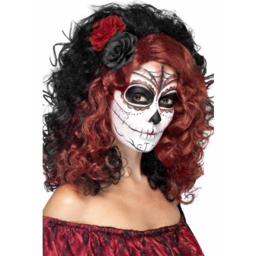Day of the Dead Wig Black & Red with Roses